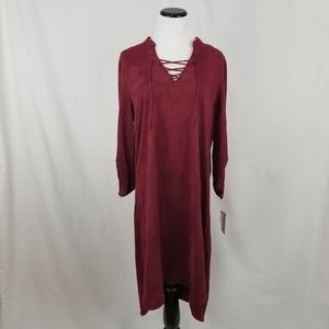 NEW Fever Red Lace Up 3/4 Sleeve Suede Shirt Dress